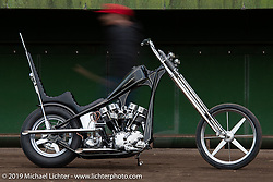 Cherry's Company's Kaichiroh Kross Kurosu's latest custom - a 1967 Harley-Davidson Shovelhead chopper he calls the Black Stallion that had just won the Best Chopper award at Mooneyes. Photographed near his Cherry's Company shop in Tokyo during a stop on our Japan tour after Mooneyes. Monday, December 3, 2018. Photography ©2018 Michael Lichter.