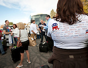 Republican supporters sport a variety of t-shirts at a pro-Romney rally and volunteer sendoff, Friday, Nov. 2, 2012.