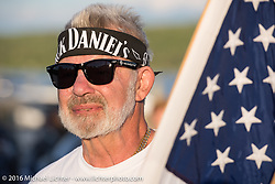 Veteran Angie Alberio at the 23rd Annual POW/MIA Freedom Ride and 28th  Anniversary of the Vigil in honor of POW/MIAs and their families by the Meredith docks during Laconia Motorcycle Week 2016. USA. Thursday, June 16, 2016.  Photography ©2016 Michael Lichter.