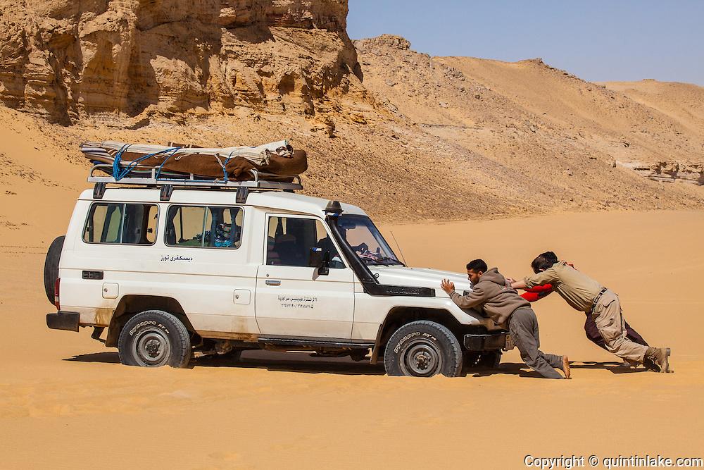 4x4 Landcruiser stuck in the sand in the Western Desert, Egypt