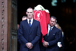 The coffin of Roger Hunt is lead out of Liverpool Cathedral after the funeral. Liverpool's record league goalscorer Roger Hunt died aged 83 on September 27th. He signed for Liverpool in July 1958 and made his final appearance for the club in December 1969. Hunt, who was also part of England's 1966 World Cup winning line-up, scored an unrivalled 244 league goals for the Reds. Picture date: Thursday October 14, 2021.
