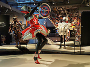 """""""American Dream"""" (2009) stylish car part dress by Sarah Thomas. WOW, World of Wearable Art (TM) is New Zealand's largest arts show. This showcase of work emerges from WOW, a spectacular international design competition where art and fashion intersect. This July 8, 2016 photo is from an exhibition at the EMP Museum, now called MOPOP (Museum of Pop Culture), Seattle, Washington, USA."""