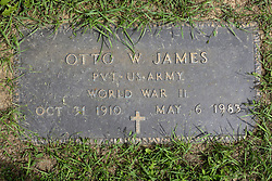 31 August 2017:   Veterans graves in Park Hill Cemetery in eastern McLean County.<br /> <br /> Otto W James  Private US Army  World War II  Oct 31 1910  May 6 1983