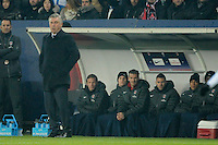 FOOTBALL - FRENCH CHAMPIONSHIP 2012/2013 - L1 - PARIS SAINT GERMAIN v OLYMPIQUE MARSEILLE - 24/02/2013 - PHOTO JEAN MARIE HERVIO / REGAMEDIA / DPPI - CARLO ANCELOTTI (COACH PSG) / DAVID BECKHAM ON THE BENCH