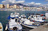 Fishing boats, quay, marina, Mediterranean, Mediterraneo, Estepona, Malaga, Andalucia, Andalusia, Spain, Espana, Costa del Sol, tourism, travel, holidays, 201302201123..Copyright Image from Victor Patterson, 54 Dorchester Park, Belfast, UK, BT9 6RJ..Tel: +44 28 9066 1296.Mob: +44 7802 353836.Voicemail +44 20 8816 7153.Skype: victorpattersonbelfast.Email: victorpatterson@me.com.Email: victorpatterson@ireland.com (back-up)..IMPORTANT: If you wish to use this image or any other of my images please go to www.victorpatterson.com and click on the Terms & Conditions. Then contact me by email or phone with the reference number(s) of the image(s) concerned.