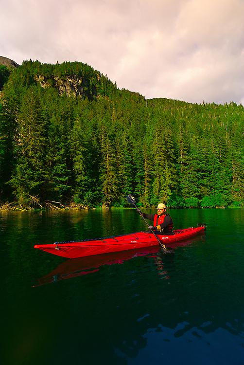 Sea kayaking in Red Bluff Bay, Inside Passage, Southeast Alaska