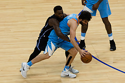 March 10, 2018 - Los Angeles, CA, U.S. - LOS ANGELES, CA - MARCH 10: Orlando Magic guard Shelvin Mack (7) wraps up LA Clippers guard Milos Teodosic (4) as he dribbles the ball up court during the game between the Orlando Magic and the LA Clippers on March 10, 2018, at STAPLES Center in Los Angeles, CA. (Photo by David Dennis/Icon Sportswire) (Credit Image: © David Dennis/Icon SMI via ZUMA Press)