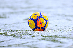 The matchday ball in the snow during the Premier League match at the bet365 Stadium, Stoke.