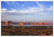 The Glen Canyon National Recreation Area and Lake Powell at Sunset, Page, Arizona, USA
