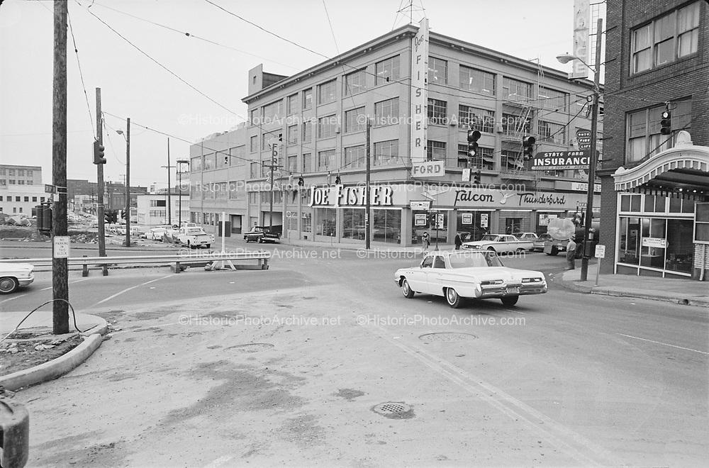 "Y-670203B-16.  ""Intersection of west Burnside & 14th for traffic court. February 3, 1967"" Crystal Ballroom, I-405 Stadium Freeway construction. Portland, Oregon."