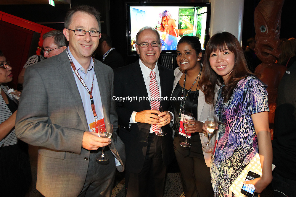 Auckland Mayor Len Brown and delegates chat during New Zealand's major international tourism trade show. TRENZ Welcome Function. Viaduct Events Centre, Auckland, New Zealand. Sunday 21 April 2013. Photo: Fiona Goodall / Photosport.co.nz