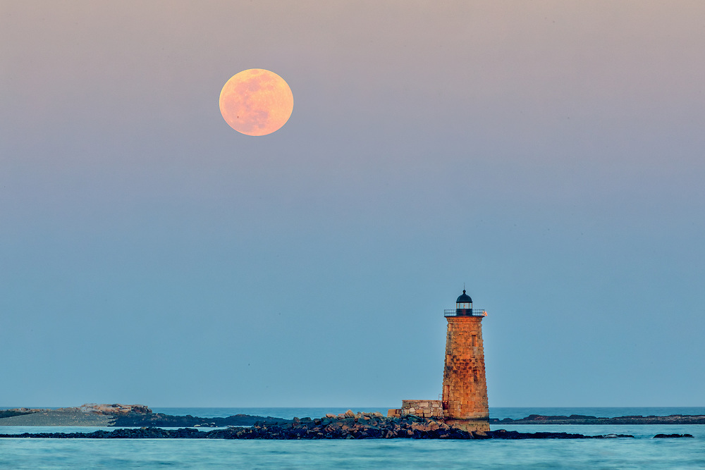 Whaleback Light with super worm moon in southern Maine near the New Hampshire border. This historic New England lighthouse is located near Portsmouth, NH and is also known as Whaleback Light or Whaleback Ledge Lighthouse. A rising full moon always attracts a lot of nature lovers and photographers alike and there was no difference last night. Originally, I was inspired by the tall and old lighthouse structure out in the ocean that tells the story of bracing the Atlantic Ocean for a century and more.   <br /> <br /> New England Lighthouse photography images are available as museum quality photography prints, canvas prints, acrylic prints, wood prints or metal prints. Fine art prints may be framed and matted to the individual liking and decorating needs:<br /> <br /> https://juergen-roth.pixels.com/featured/worm-moon-and-whaleback-light-juergen-roth.html<br /> <br /> Good light and happy photo making!<br /> <br /> My best,<br /> <br /> Juergen<br /> Prints: http://www.rothgalleries.com<br /> Photo Blog: http://whereintheworldisjuergen.blogspot.com<br /> Instagram: https://www.instagram.com/rothgalleries<br /> Twitter: https://twitter.com/naturefineart<br /> Facebook: https://www.facebook.com/naturefineart