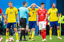 July 3, 2018 - St Petersburg, Russia - 180703 Albin Ekdal of Sweden reacts towards the referee during the FIFA World Cup round of 16 match between Sweden and Switzerland on July 3, 2018 in ST Petersburg..Photo: Petter Arvidson / BILDBYRÃ…N / kod PA / 87748 (Credit Image: © Petter Arvidson/Bildbyran via ZUMA Press)