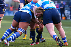Charlotte Wright Haley, on debut for Worcester Warriors Women,  is stopped by the DMP Durham Sharks defence - Mandatory by-line: Nick Browning/JMP - 09/01/2021 - RUGBY - Sixways Stadium - Worcester, England - Worcester Warriors Women v DMP Durham Sharks - Allianz Premier 15s