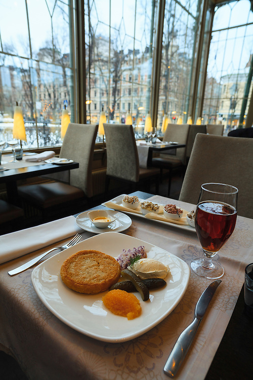Blini in Kappeli restaurant in Helsinki,Finland.  The blini tradition dates back to the time of the Russian Tsars when the blini were an integral element of the cuisine at the heart of the winter.