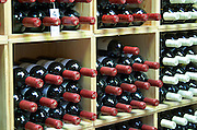 Bottles aging in the cellar. Winery shop. Clos de l'Obac, Costers del Siurana, Gratallops, Priorato, Catalonia, Spain.