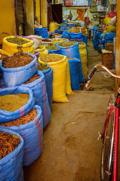 MARRAKESH, MOROCCO - CIRCA APRIL 2018: Shop at the spice market in Marrakesh