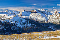 This view of the Rocky Mountains is from the 12,000 feet high Loveland Pass. Hidden in the valley below is Interstate 70, where it crosses the Continental Divide at Eisenhower Tunnel.<br />