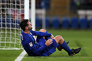 Sean Morrison of Cardiff city injured on the ground. .EFL Skybet championship match, Cardiff city v Ipswich Town at the Cardiff city stadium in Cardiff, South Wales on Tuesday 31st October 2017.<br /> pic by Andrew Orchard, Andrew Orchard sports photography.