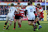 Wasps lock James Gaskell tackles Gloucester flanker Jake Polledri during the Aviva Premiership match between Gloucester Rugby and Wasps at the Kingsholm Stadium, Gloucester, United Kingdom on 24 February 2018. Picture by Alan Franklin.