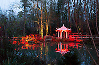 Spirit of the Orient 2014, part of the Electric Woods, a spectacle of themed light, colour and sound. Taking place at Robin Hill Adventure Park & Gardens, a five acre pocket of ancient woodland on the Isle of Wight.