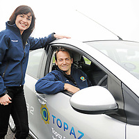 13 October 2010; Ben Collins the Top Gear's former 'Stig' and Nicola Hudson from AA Roadwatch during a Topaz fuel event. Mondello Park, Donore, Naas, Co. Kildare. Picture credit: Matt Browne / SPORTSFILE *** NO REPRODUCTION FEE ***