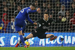Cardiff City's Callum Paterson scores his side's first goal of the game during the Premier League match at the Cardiff City Stadium, Cardiff.