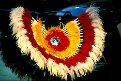 Close up of American Indian Traditional Costume with Feathers