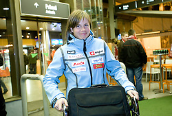 Vesna Fabjan when she and P.Majdic arrived home with cristal globus at the end of the nordic season 2008/2009, on March 23, 2009, at airport Jozeta Pucnika, Brnik, Slovenia. (Photo by Vid Ponikvar / Sportida)