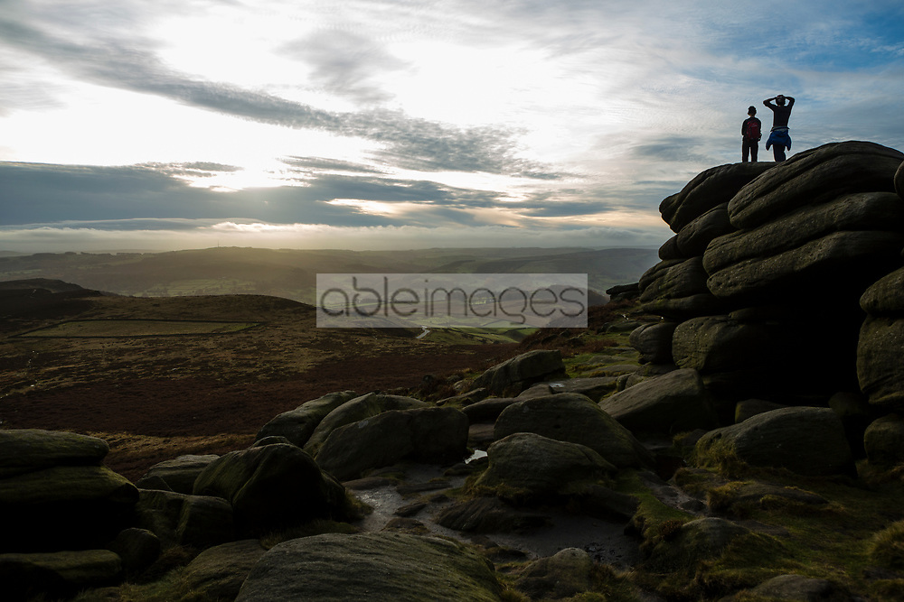 Two People Admiring the View, Higger Tor, Peak District National Park, England