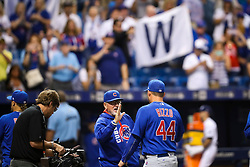 September 19, 2017 - St. Petersburg, Florida, U.S. - WILL VRAGOVIC   |   Times.Chicago Cubs manager Joe Maddon (70) high fives first baseman Anthony Rizzo (44) after the game between the Chicago Cubs and the Tampa Bay Rays at Tropicana Field in St. Petersburg, Fla. on Tuesday, Sept. 19, 2017. The Chicago Cubs beat the Tampa Bay Rays 2-1. (Credit Image: © Will Vragovic/Tampa Bay Times via ZUMA Wire)