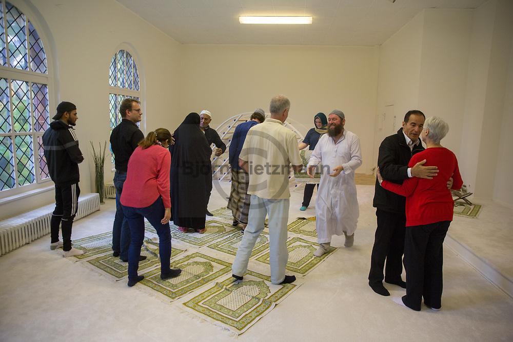 Berlin, Germany - 06.10.2017<br /> <br /> Ibn-Rushd-Goethe Mosque in Berlin-Moabit. The liberal mosque is located in an annex of the Protestant St. Johannis Church.<br /> <br /> Ibn-Rushd-Goethe-Moschee in Berlin-Moabit. Die liberale Moschee befindet sich in einem Nebengebaeude der evangelischen St. Johannis Kirche.<br /> <br /> Photo: Bjoern Kietzmann