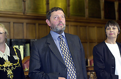The now Home secretary David Blunket MP awaits the announcement result of his election contest on general election night 2001 in the sheffield Town Hall.