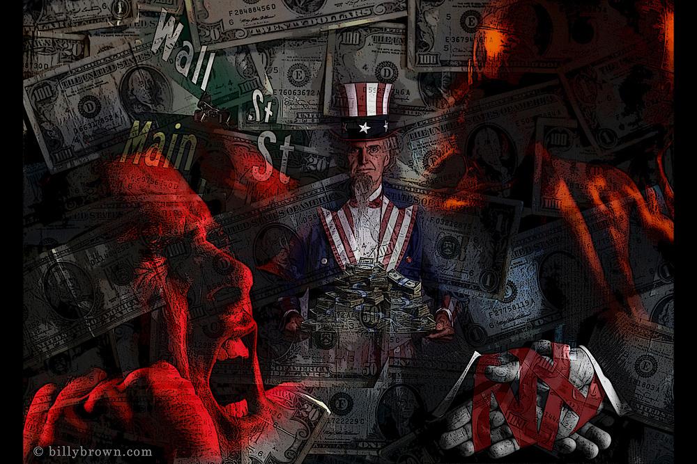Photo Illustration of Wall Street Main Street Money Red Tape