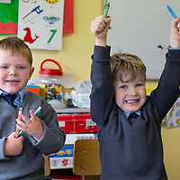 A happy Joseph O'Donoghue and Ruairi Morrissey on their First day at Cooraclare National School