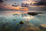 Sunset reflection in the calm sea