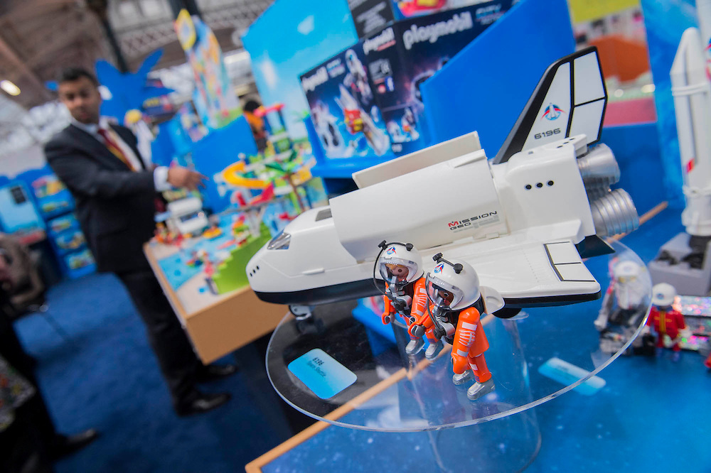 Space toys are the latest thing for Playmobil but they mix with the more traditional pirate characters - The annual London Toy Fair, the trade show for the toy and games industry, takes place at Olympia.
