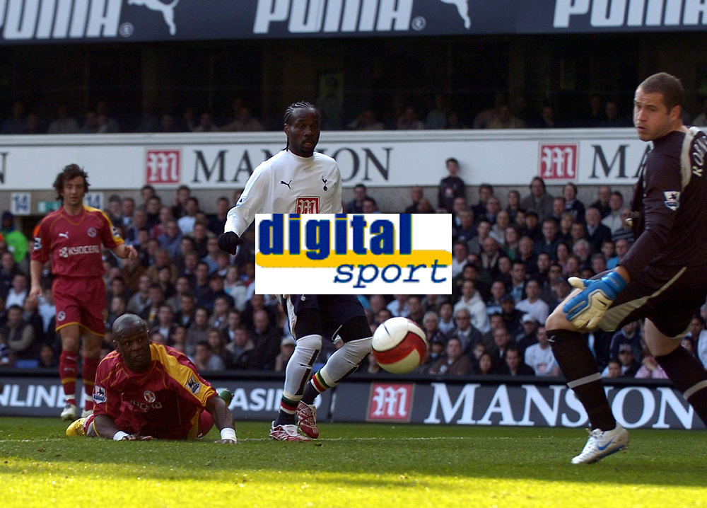 Photo: Olly Greenwood.<br />Tottenham Hotspur v Reading. The Barclays Premiership. 01/04/2007. Reading's Leroy Lita see's hius header hit the post as Spurs Pascal Chimbonda and Paul Robinson look on
