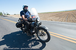 Bob Priske riding his 1932 Harley Davidson V during Stage 15 (244 miles) of the Motorcycle Cannonball Cross-Country Endurance Run, which on this day ran from Lewiston, Idaho to Yakima, WA, USA. Saturday, September 20, 2014.  Photography ©2014 Michael Lichter.