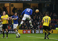 Everton's Romelu Lukaku scoring his second goal during the Premier League match at Vicarage Road Stadium, London. Picture date December 10th, 2016 Pic David Klein/Sportimage