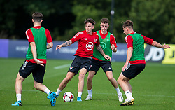 CARDIFF, WALES - Monday, August 31, 2020: Wales' Cameron Coxe (Solihull Moors) (L) and Nathan Broadhead (Everton FC) during a training session at the Vale Resort ahead of the UEFA Under-21 Championship Qualifying Round Group 9 match between Bosnia and Herzegovina and Wales. (Pic by David Rawcliffe/Propaganda)