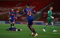 Blackpool's CJ Hamilton celebrates scoring his side's second goal <br /> <br /> Photographer Alex Dodd/CameraSport<br /> <br /> The EFL Sky Bet League One - Doncaster Rovers v Blackpool - Tuesday 24th November 2020 - Keepmoat Stadium - Doncaster<br /> <br /> World Copyright © 2020 CameraSport. All rights reserved. 43 Linden Ave. Countesthorpe. Leicester. England. LE8 5PG - Tel: +44 (0) 116 277 4147 - admin@camerasport.com - www.camerasport.com