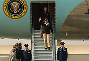 President Donald J. Trump walks down the steps of Air Force One at Beale Air Force Base on Saturday, November 17, 2018. President Trump meets current California Governor Brown and California Governor-Elect Gavin Newsom.