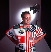 Playwright Luis Alfaro, noted for his exploration of Latino life, wears his multicultural colors for a portrait.
