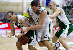 Vladimir Dasic of Olimpija between Afik Haim Nissim and Edo Muric of Krka during basketball match between KK Union Olimpija Ljubljana and KK Krka Novo mesto of finals of 11th Slovenian Spar Cup 2012, on February 19, 2012 in Sports hall Brezice,  Brezice, Slovenia. (Photo By Vid Ponikvar / Sportida.com)