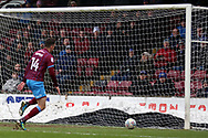 Scunthorpe United forward Tom Hopper (14) sees a shot go narrowly wide during the EFL Sky Bet League 1 match between Scunthorpe United and Oldham Athletic at Glanford Park, Scunthorpe, England on 3 March 2018. Picture by Mick Atkins.