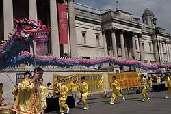 August 26, 2017 - London, United Kingdom - Chinese dragon dancers stage a dance near London's Trafalgar square, on August 26, 2017. (Credit Image: © Jay Shaw Baker/NurPhoto via ZUMA Press)