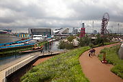 London 2012 Olympic Park in Stratford, East London. The site is beautifully landscaped with gardens of wild flowers all blooming with different colours. It gives a very natural feeling to the park.