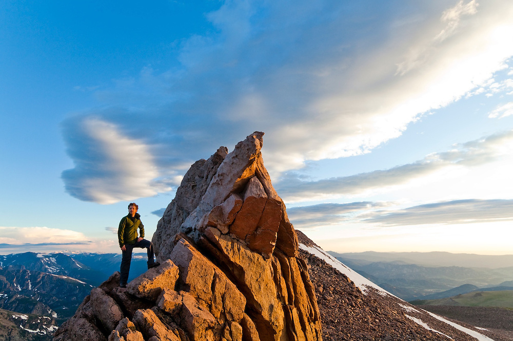 James Meldrum looks out from the Boulder Field from the Keyhole on Longs Peak, Rocky Mountain National Park, Colorado.