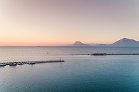 Aerial view of beautiful sunset from marina in Patras, Greece